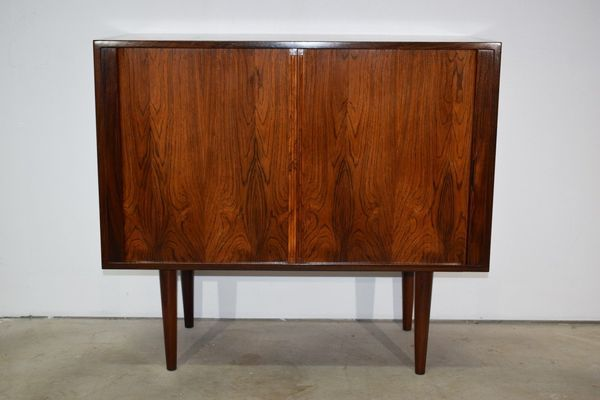 Danish Mid Century Rosewood Cabinet, Tambour Doors, Kai Kristiansen, Feldballes | Vinterior
