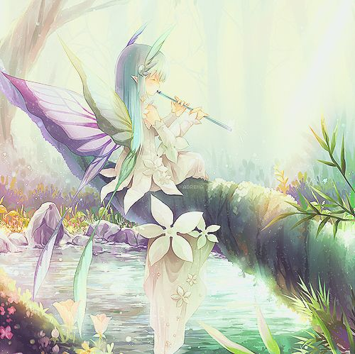 ✮ ANIME ART ✮ fairy. . .fae. . .playing flute. . .musical. . .wings. . .dress. . .flowers. . .tree limb. . .river. . .water. . .natures. . .forest. . .ethereal. . .sparkling. . .fantasy. . .cute. . .kawaii