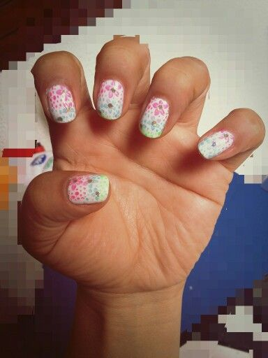 Nail Art  stamping- Flores Colores