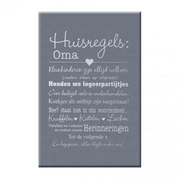 Tekstbord huisregels Oma op donkergrijze achtergrond - 40x60 cm