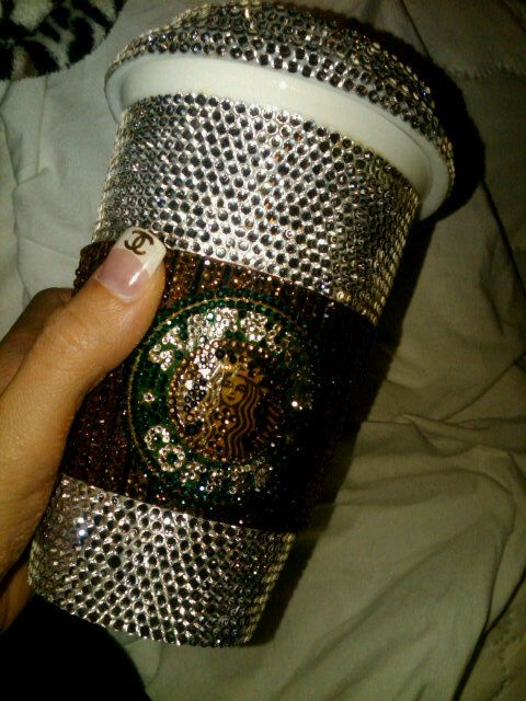 bedazzled starbucks: Coco Chanel, Cute Cups, Starbucks Coffee, Nails Tips, Starbucks Cups, Coff Cups, Scavenger Hunt'S, Bling Nails, Bling Bling