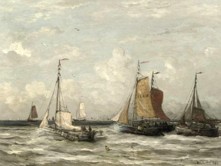 Hendrik Willem Mesdag (1831-1915) Uitvarende vissersvloot. (Coll. Christies.com)