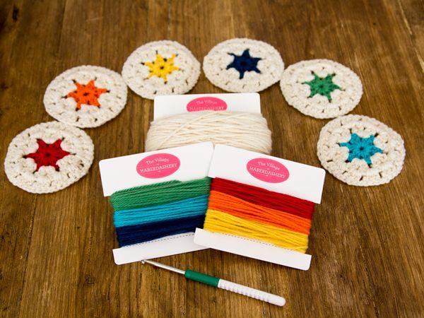 Free crochet pattern: Rainbow Coasters