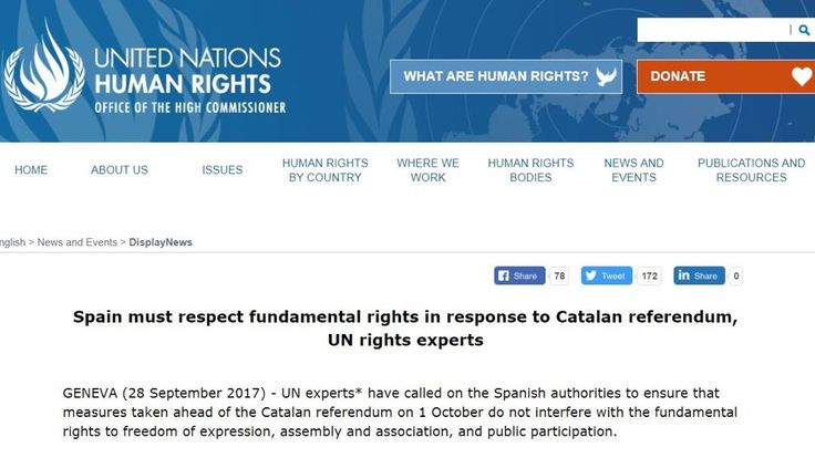 Aviso de expertos de la ONU a España por la estrategia contra el referéndum
