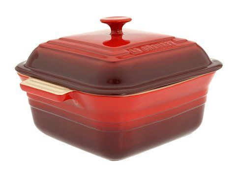 Stoneware 3-Qt. Square Casserole Color: Cherry Red by Le Creuset. $84.95. Unique clay mixture creates a very dense material when fired, maintaining even temperatures and preventing scorching. High-quality exterior enamel protects against metal marks and other damage. Unmatched thermal resistance from -65 F to 500 F safe for the freezer, microwave, oven, broiler and dishwasher. Less than 1% porosity, blocking moisture absorption which can lead to cracking, crazing and ripp...