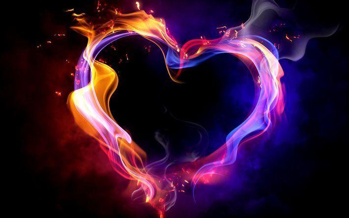 Scarica sfondi cuore, fuoco, fiamma, ardente cuore, fumo