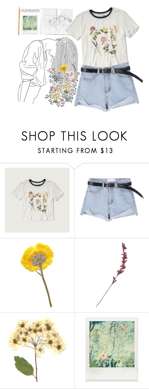 """""""🌷🌻🌾"""" by irishills ❤ liked on Polyvore featuring Abercrombie & Fitch, Polaroid, Paper Mate, tumblr, Flowers, Tshirt and jeanshorts"""