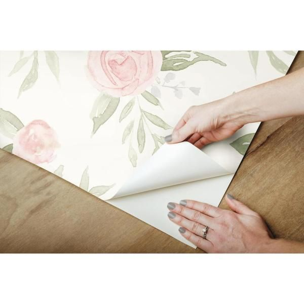 Magnolia Home By Joanna Gaines Watercolor Roses Coral Premium Peel And Stick Wallpaper Roll Covers 34 Sq Ft Psw1013rl The Home Depot Watercolor Rose Peel And Stick Wallpaper Magnolia Homes
