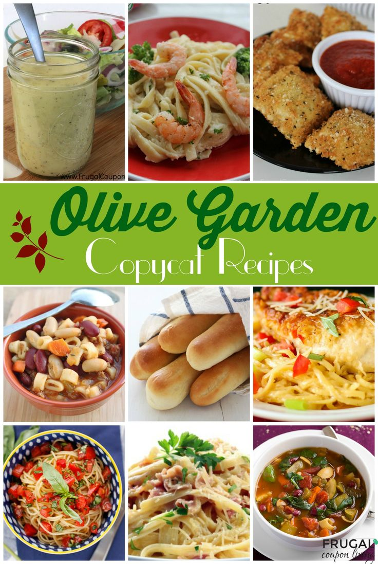 Copycat Olive Garden Reicpes - Round-Up of Entrees, Desserts, Appettizers and more on Frugal Coupon Living. Make your favorite meals at home!
