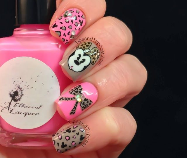Pink Leopard Minnie Mouse Nails