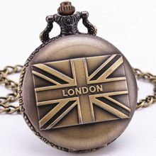 L amore londra inghilterra bandiera britannica d'antiquariato dell'annata retro del bronzo vigilanza di tasca del pendente della collana del maglione della catena clock souvenir TD047(China (Mainland))