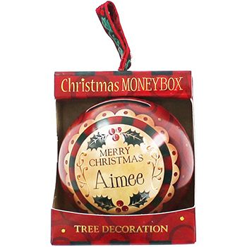 Personalised Money Box Bauble - Aimee | Money Boxes at The Works