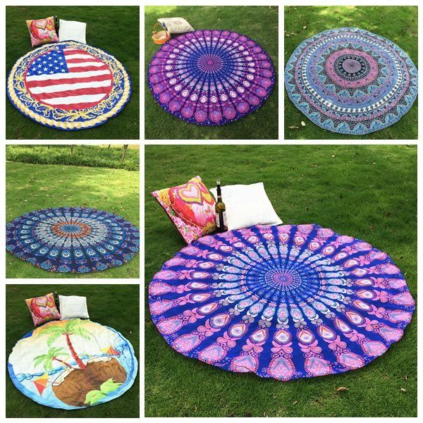 150cm Bohemian Style Beach Yoga Towel Mandala Round Bed Sheet Tapestry Tablecloth Silk Scaf