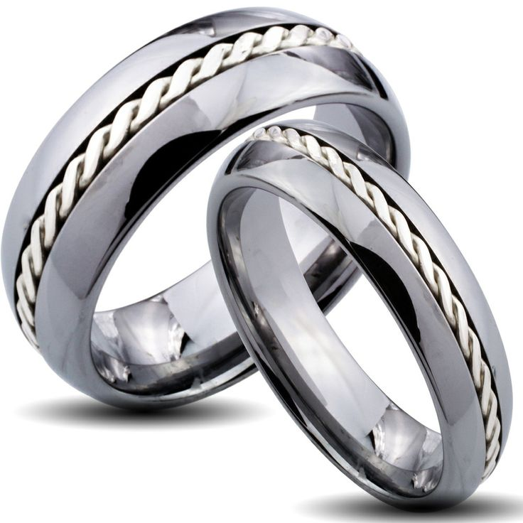 Tungsten Carbide Silver Rope Inlay His And Her Wedding Band Set Shopping R