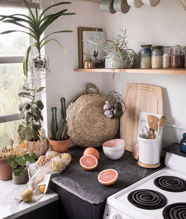 tiny boho kitchen
