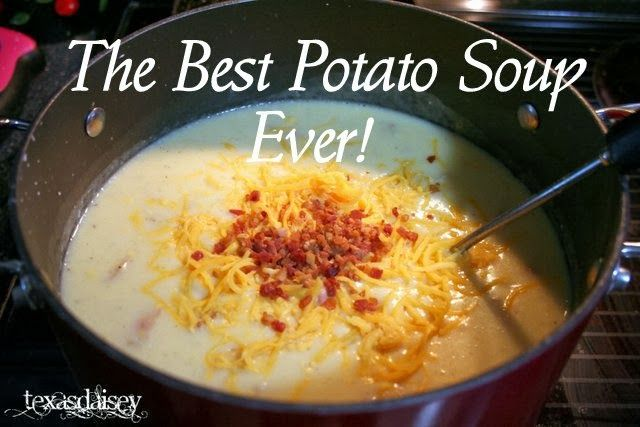 This is one of those Paula Deen type recipes that is full of flavor and oh my! is it good! Texasdaisey Creations: The Best Potato Soup Ever.