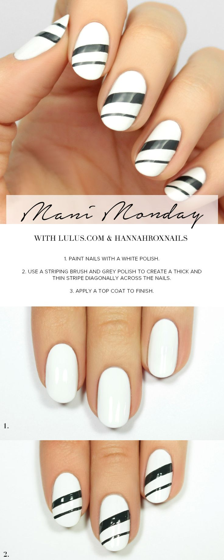 Lorde inspired nail tutorial - Mani Monday White And Grey Striped Nail Tutorial