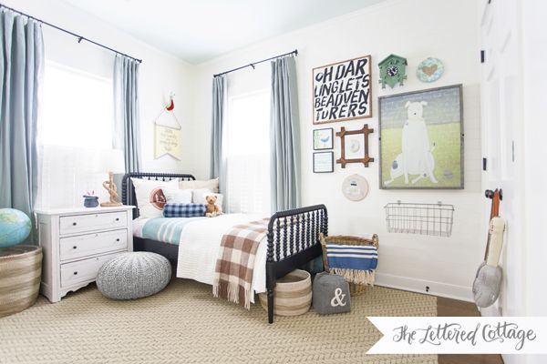 Boys Bedroom Makeover | The Lettered Cottage  So refreshing to see a boy's room light & fun rather than all dark & dismal.