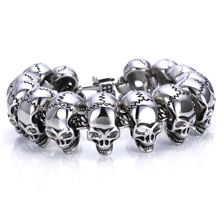 Cool Fashion Gift Trendy European Hipster Titanium Steel Male Vintage Punk Jewelry Creepy Skull Bracelets
