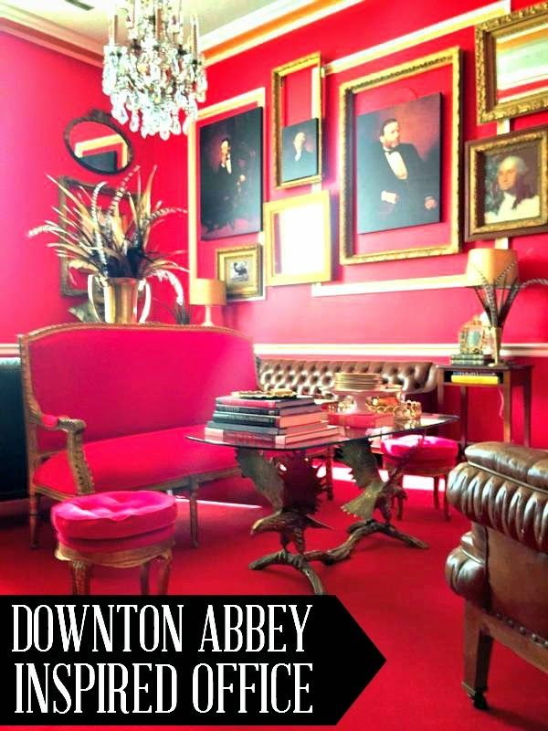 A Downton Abbey inspired congressional office... or is it?  Photo filled blog post at www.chiconashoestringdecorating.blogspot.com
