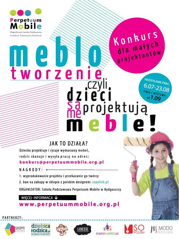 """Konkurs """"Meblotworzenie czyli dzieci same projektują meble"""" Szkoły Podstawowej PERPETUUM MOBILE w Bydgoszczy!"""