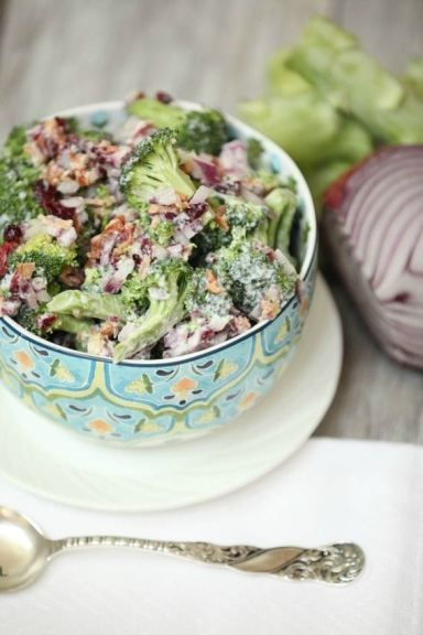 This was a huge hit!  Can't wait to make it again.  Fresh Broccoli Salad with Crispy Bacon and Dried Cranberries Low Calorie, Low Fat Healthy Side Dish