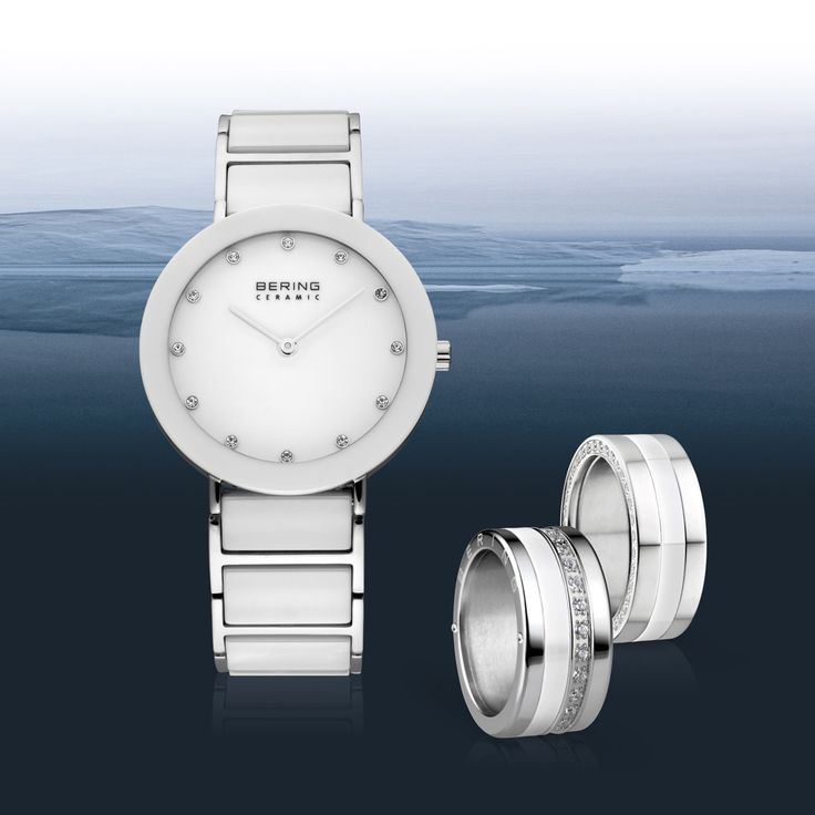 Ladies watch and matching ring combinations; BERING; Ceramic Collection; Arctic Symphony Collection