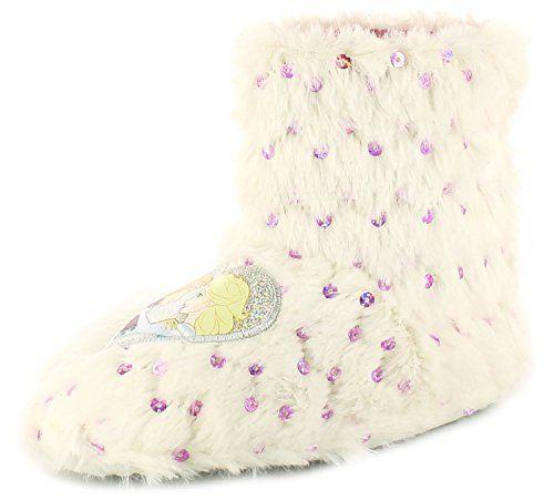 Mädchen Hausschuhe Frozen Fellstiefel Frozen Motiv mit Pailletten - Weiß/Rosa - http://on-line-kaufen.de/frozen-2/maedchen-hausschuhe-frozen-fellstiefel-frozen