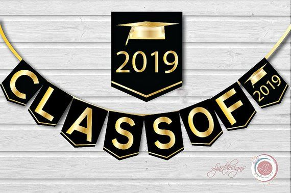 Graduation gold. Digital black and banner