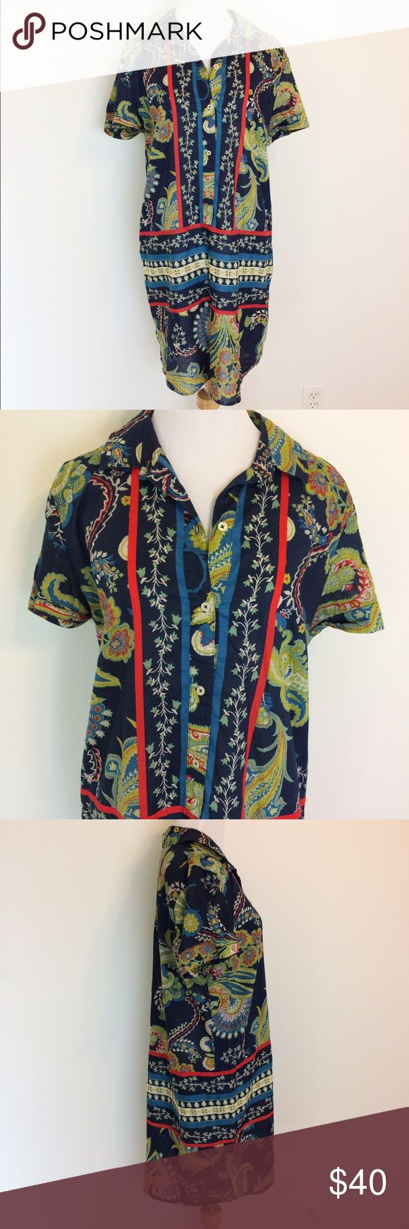 """Tommy Hilfiger Colorful Oriental Shirt Dress Beautiful Tommy Hilfiger dress. Collar and 4 buttons in front. Very light and breezy. Size Large. Underarm measurement is 22"""". Length is 34"""". 100% cotton. Tommy Hilfiger Dresses"""
