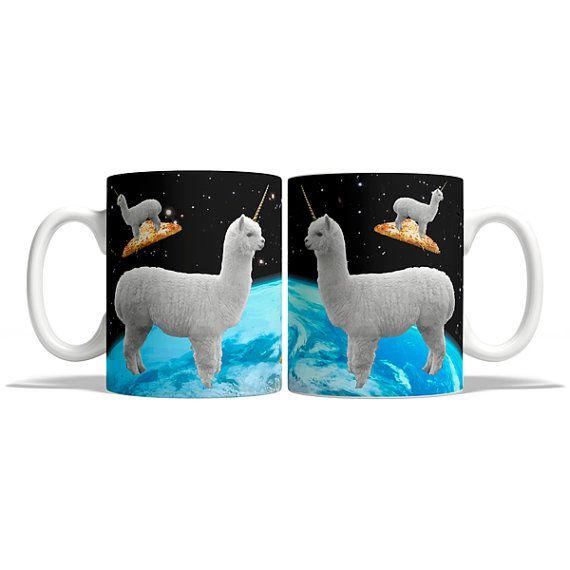 Flying alpaca on pizza in space mug funny mug 4M105A by Memeskins