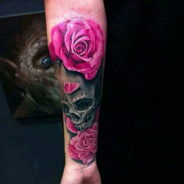 Pink rose black skull arm tattoo ink pinterest for Pink ink tattoo