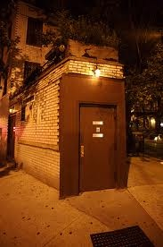 Hidden NYC Bar -  Little Branch    little branch Pssst: The 5 Best Secret Bars in New York  How to Find It: Go to the corner of Seventh Avenue and Leroy Street.  You'll see a single rusted metal door with no signs but a bouncer outside.  Once inside, you'll go down a long stairway to get into the bar.