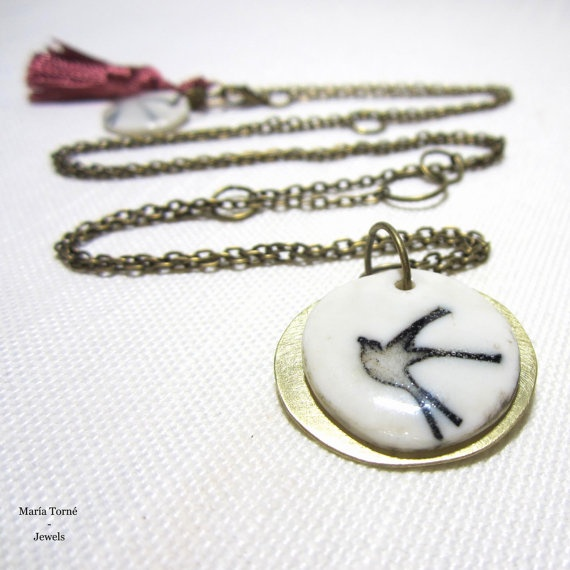 Pendant swallow in black and white by mariatornearte on Etsy, $21.50