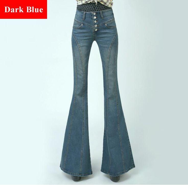 VintageSkinny Flare Jeans Single Breasted Hip Slim Fit Pants Wide Leg Big Bell Bottom Jeans Plus Size Jean Slim Femme XXXL