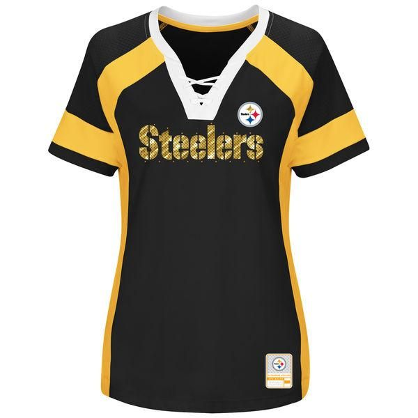 Pittsburgh Steelers Women's Majestic Draft Me V-Neck Jersey T-Shirt