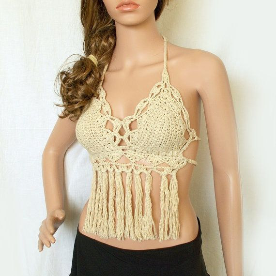 Top with fringe  Hippie halter top  Sexy bikini by KnittedSmiles