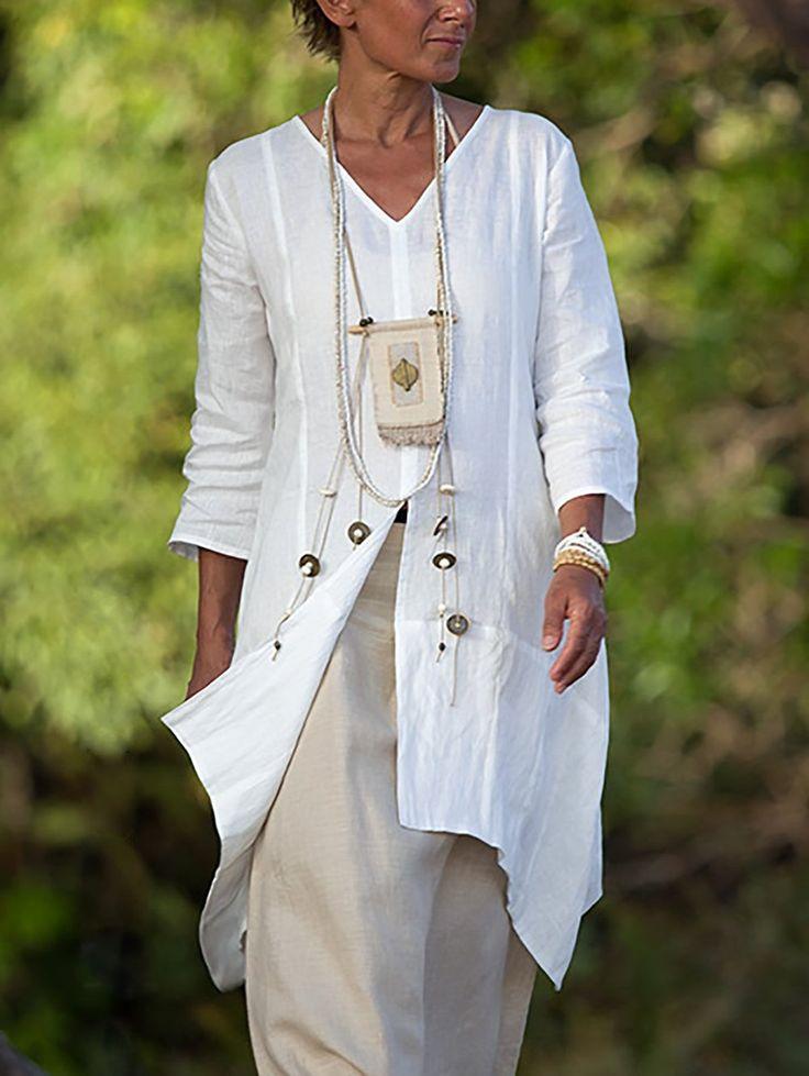 Women Casual 3/4 Sleeve Side Slit Shirts Plus Size Blouses