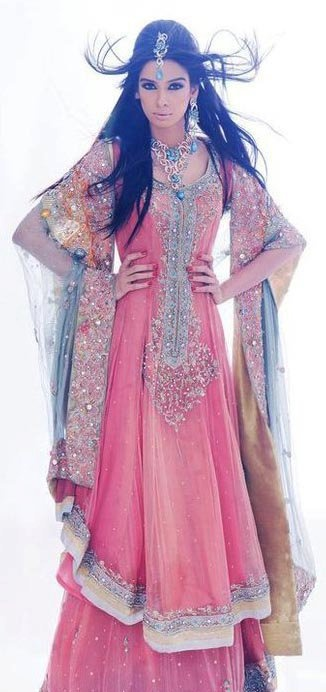 pink bridal anarkali dress suit