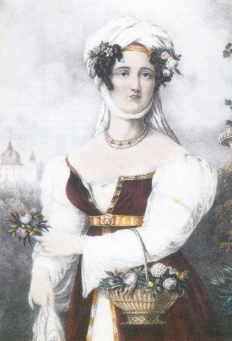 Engraving of Laskarina Bouboulina, heroine of the Greek War of Independence, by Friedel, 1827.
