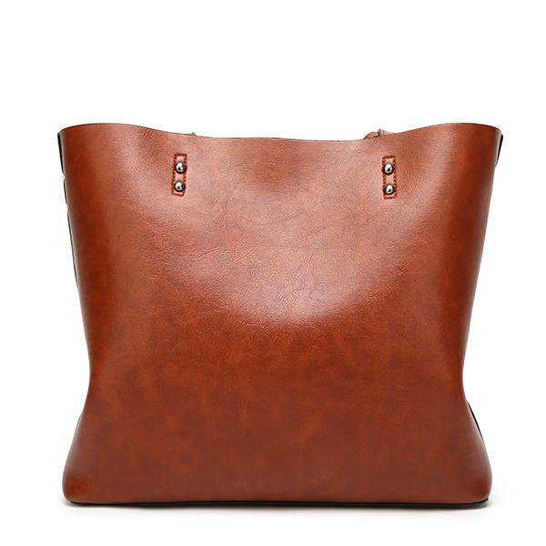 Women Oil Leather Tote Handbags Vintage Shoulder Bags - Banggood Mobile e605683f852ed
