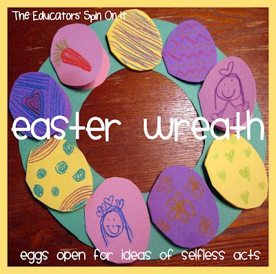 Story Craft from The Easter Egg by Jan Brett ...Create an egg wreath with discussion of selfless acts of kindness for others inside eggs plus links to Author Videos & story