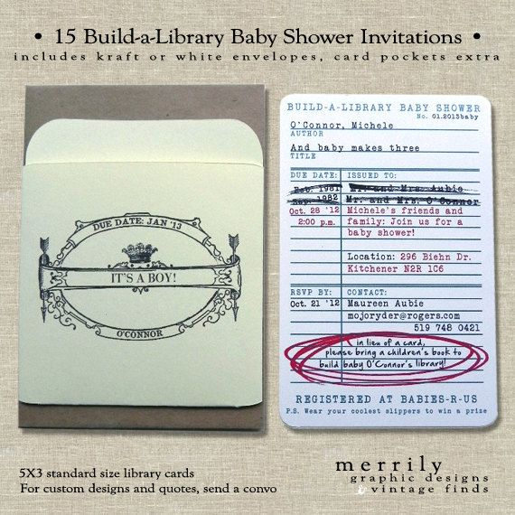Library Card Invitations, Build-a-Library Baby Shower Invitations