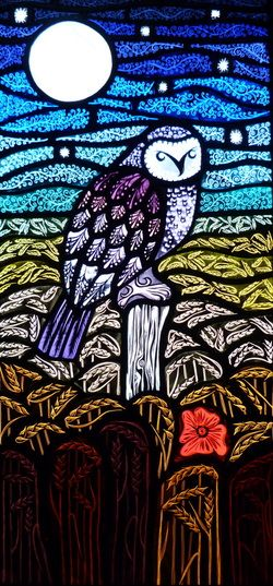 """""""Owl"""" panel. Painted, etched and kiln-fired leaded glass by Annette Reed, Milton Keynes, UK"""