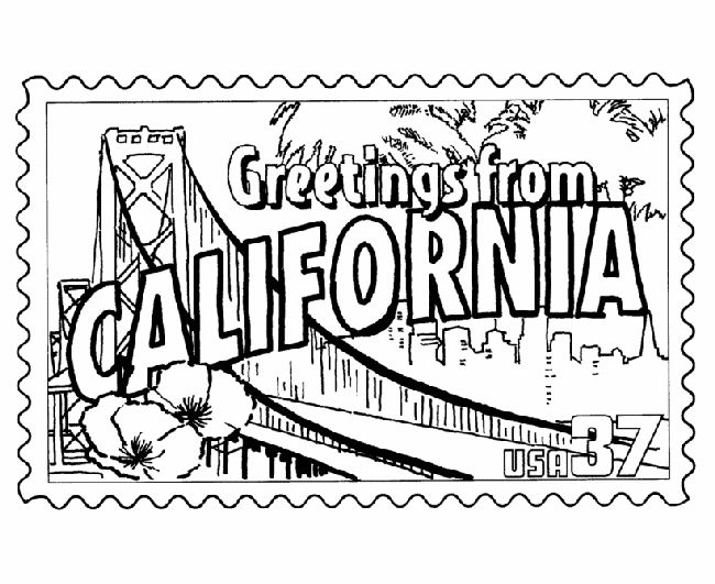 usa printables california state stamp us states coloring pages