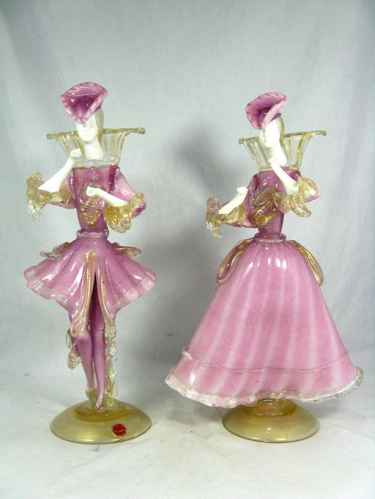 Rare pair Murano glass figures /  Glasfiguren Tanzpaar orig.label  35,5 cm Italy