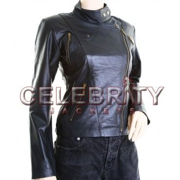 Jessica Alba Slim fit Genuine Sheepskin Black Leather Jacket - £109.99