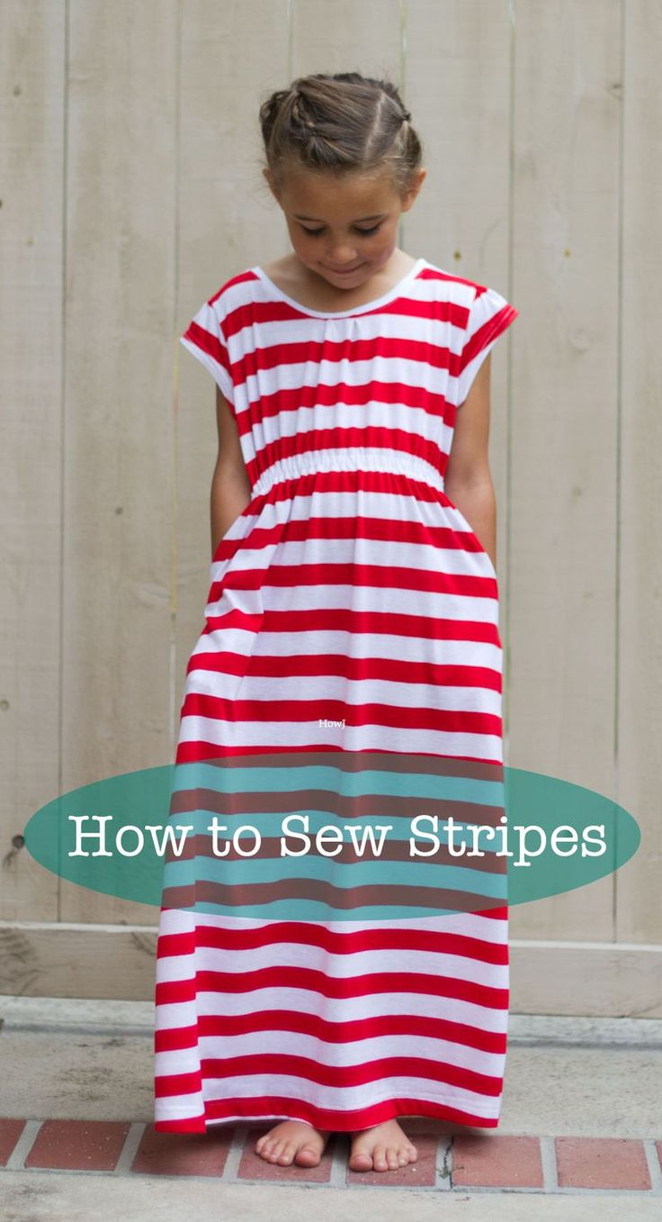 How-to-sew-stripes. Love the dress for all the girls.