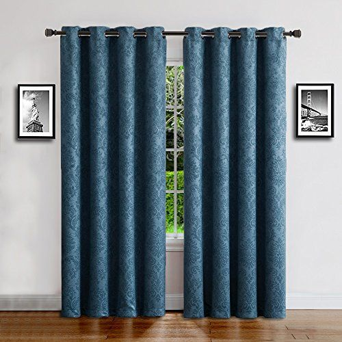 """Warm Home Designs 1 Panel of Blue Teal Color 54"""" (Width) by 96"""" (Length) Textured Blackout Curtains with Embossed Floral Pattern. Insulated Drapes are Great for Privacy & Noise Reduction. EV Teal 96 #Warm #Home #Designs #Panel #Blue #Teal #Color #(Width) #(Length) #Textured #Blackout #Curtains #with #Embossed #Floral #Pattern. #Insulated #Drapes #Great #Privacy #Noise #Reduction."""