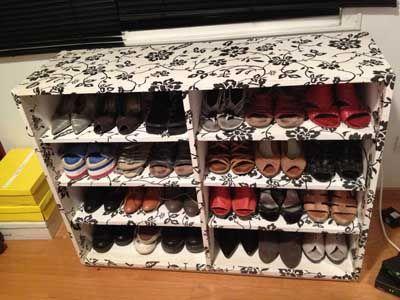 Organizador de zapatos en madera y papel